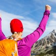 Hiking success, woman in mountains — Stock Photo