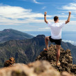Trail runner success, man running in mountains — Stockfoto