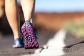 Walking or running legs in mountains, adventure and exercising — Stock Photo