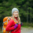 Woman hiker with backpack hiking in forest — Stock Photo