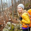 Woman hiking in autumn forest trail — Stock Photo #27115929