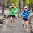 Stock Photo: Couple trail running in forest