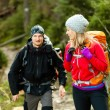 Couple hikers in mountains — Stock Photo