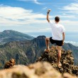 Stok fotoğraf: Trail runner success, man running in mountains