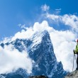 Woman hiker in mountains — Stock Photo