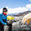 Woman hiker in Everest base camp — Stock Photo