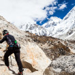 Woman hiking to Everest basecamp — Stock Photo