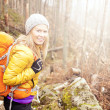 Woman hiking in autumn forest trail — Stock Photo #47001823