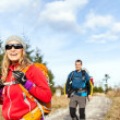 Couple walking and hiking on mountain trail — Stock Photo #47001853