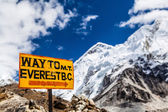 Mount Everest signpost Himalayas — Stock Photo