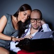 Writer and his muse, young couple freelance typing on an old typewriter — Stockfoto #48737017