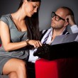 Writer and his muse, young couple freelance typing on an old typewriter — Stockfoto #48737049