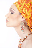 Sensual young adult woman with headscarf — Stock Photo