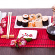 Stock Photo: Sushi on plate in restaurant