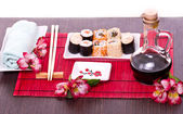 Sushi on a plate in a restaurant — Stock Photo
