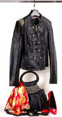 Women's leather jacket and accessories — Stock Photo