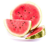 Ripe sweet watermelon isolated on white — Stock Photo