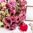 Beautiful pink roses with banner — Stock Photo