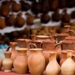 molti vasi di terracotta fatti a mano vecchio — Foto Stock