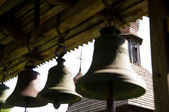 Inside an antique tower bell — Stock Photo