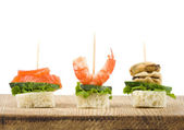 Set of tasty canape — Foto Stock