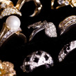 Beautiful jewelry on black background - Foto Stock