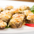Stock Photo: Stuffed mushrooms with cheese