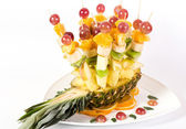 Fruit canape on toothpick — Stock Photo