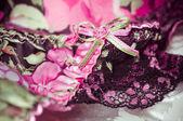 Dámské krajkové prádlo pozadí — Stock fotografie