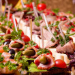 A lot of cold snacks on buffet table, catering — Stock Photo #18042259
