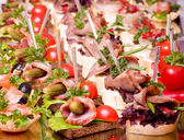 Set of tasty canape for an event party — Stock Photo