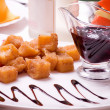 Deep fried cheese balls and sauce — Stock Photo #19413995