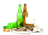 Dried with beer on white — Stock Photo