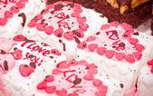Small tasty cakes with hearts — Stock Photo
