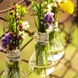 Various flowers in a vases made out of bulbs — Stock Photo
