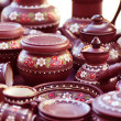 Traditional Russian Pottery on the Market - Stock Photo