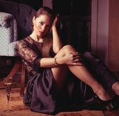 Fashion woman retro portrait with glass — Stock Photo