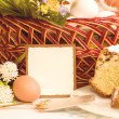 Traditional Easter cake with Easter eggs and spring flowers - Photo