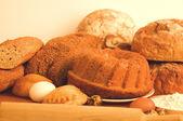 Fresh bread background — Stock Photo