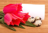 Easter eggs with bouquet pink tulips and card — Stock Photo