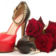 Woman's black and red high heel shoe — Stock Photo