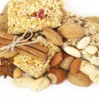 Tasty nuts and musli bars. Healthy food — Stock Photo