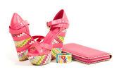 Sexy modische Schuhe und Accessoires auf weißem Hintergrund. — Stockfoto
