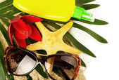 Beautiful exotic shell, red flower and glasses on sand — Stock Photo