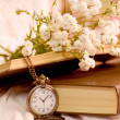 Vintage books, antique clock and flowers — Stockfoto