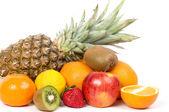 Fresh fruits isolated on a white background — Stock Photo