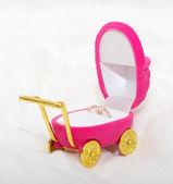 Jewelry pram box with rings — Stock Photo