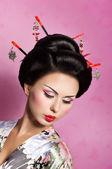 Portrait of a Japanese geisha woman — Stock Photo