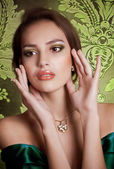 Woman with jewelry necklace — Stock Photo