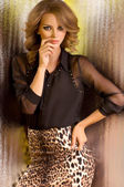 Woman in leopard clothes — Foto Stock